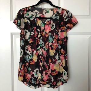Halogen floral ruffle blouse